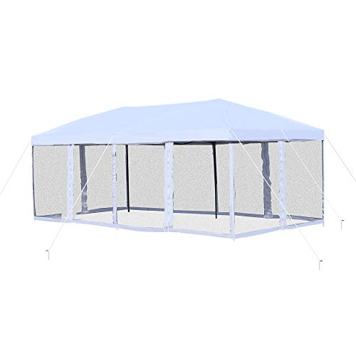 Outsunny 10' x 20' Heavy Duty Pop Up Canopy with 6 Sidewall Mesh Netting, Outdoor Party Event Tent with Oxford Fabric Roof for Backyard Garden Patio, Cream White