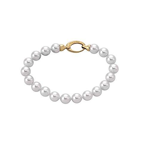 Majorica - Pulsera 19 cm de Largo, 8 mm Perlas Blancas Redondas