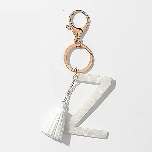 TOSISZ Cuero Color Oro Llavero Pulsera Acetato Blanco Llavero Inicial Colgante clásico Alfabeto Llavero de Resina-Z Individual, Dorado