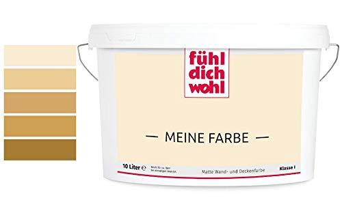 Fühl Dich Wohl Meine Farbe beige, matte Wandfarbe beige, hohe Deckkraft, verschiedene Beigetöne zur Auswahl (5L, Cremebeige E5-31)