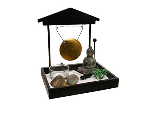 Ducomi Giardino Zen da Tavolo con Vassoio, Sabbia, Statuetta Buddha, Roccia - Kit Meditazione Giapponese - Accessori Casa Arredamento Interni Decorazione Idea Regalo (Seisei)