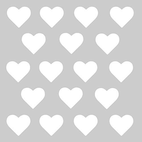 timalo® - Wandtattoo 50 Stück weiße Herzen Aufkleber Deko Sticker Herz – Kinderzimmer Sticker | 73070-weiss-50St-10cm