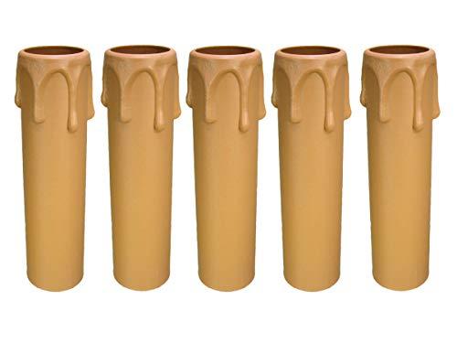 AMBROS - Kristall 5X E14 Fassunghülse ~ Kerzenhülse 100mm Kunststoff Beige ~ Creme Ø 24/26mm