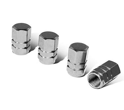 iJDMTOY (4 Tuner Racing Style Gun Metal Grey Aluminum Tire Valve Caps (Hexagon Shape)