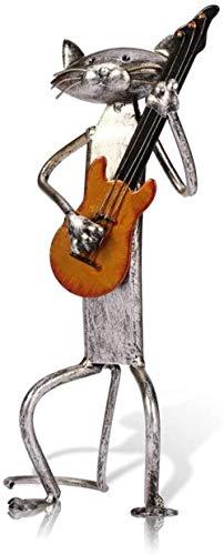 ZHIFENGLIU Metal Figurine pop A Playing Guitar Saxophone Singing Cat Figurine Furnishing Articles Craft Gift For Home Decoration-3Pcs(A+B+C)