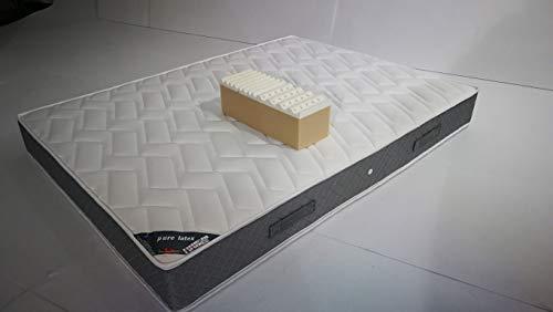 Provence Literie - Colchón de látex de 75 kg/m3 + Espuma de 35 kg/m3 HR 70 x 190 x 21,5 cm + Almohada viscoelástica + Funda de Apoyo Firme, 7 Zonas de Confort, Tela, Blanco, 2x90x190