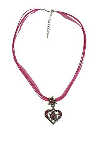Sonnenscheinschuhe® Kette Edelweiss Herz Pink Trachtenkette Halskette Anhänger Oktoberfest Dirndl Schmuck