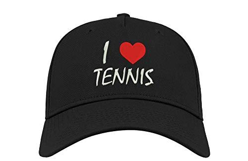 Sconosciuto I Love Tennis Sport Athlete Ricamato Curvo Visor Unisex Traspirante Berretto Cappello Cappellino da Baseball cap Fullcap Confortevole Nero