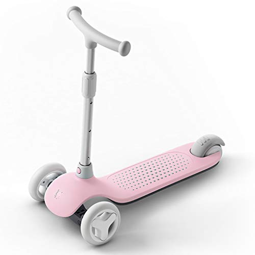 Scooter pour des Enfants 3-6 Ans, Taille Ajustable de de Pied Maigre pour diriger avec Clignotant Les Roues d'unité Centrale, Conseil Pliable de (Couleur : Pink)