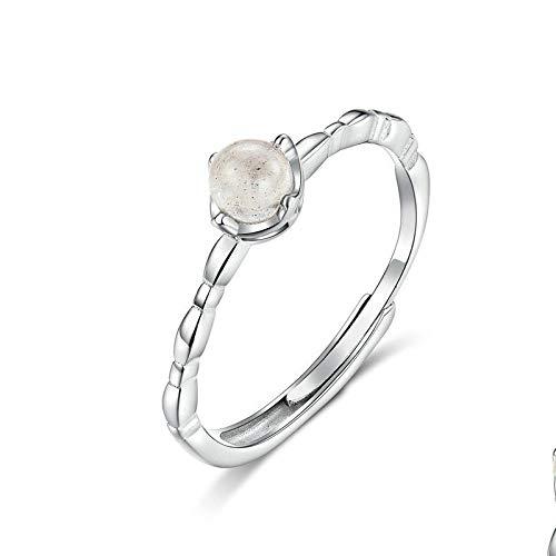JIARU Anillo de plata de ley 925 para mujer, anillo ajustable, anillo simple y anillo de piedra lunar para niña