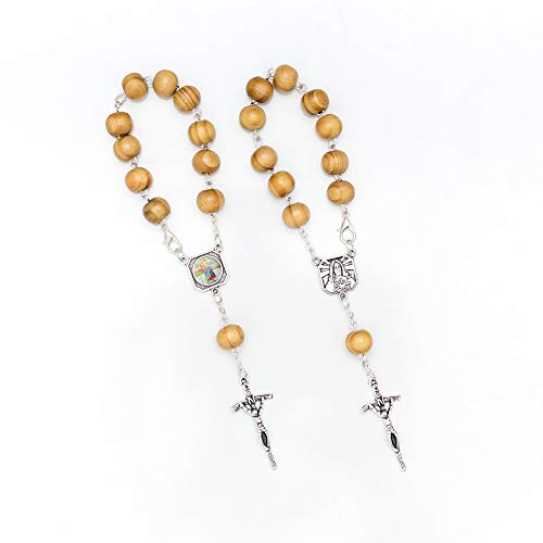 MaMeMi Zehner-Rosenkranz mit Echtholz-Perlen, Christophorus-Plakette und Kruzifix