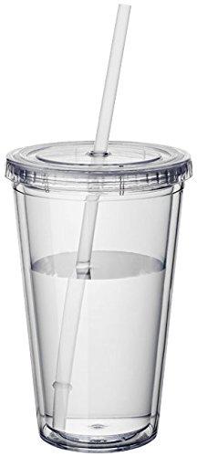 Vasos de plástico de doble pared Vasos para beber Vasos con tapas Batido de paja Jugo Café Café helado Ecológico notrash2003 (Transparente)