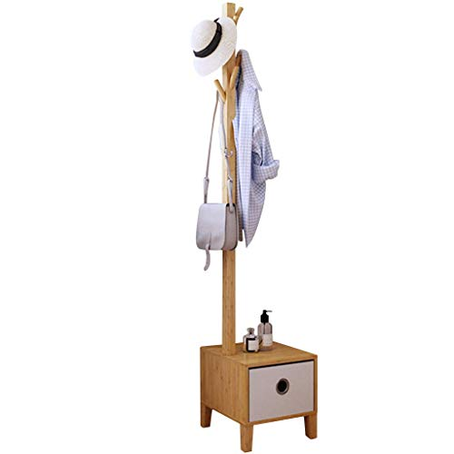 HMQ Zhen GUO Solid Wood Coat Racks Free Standing with Storage Drawer, Natural Bamboo Coat Stand Hall Tree Hat Hanger for Bedroom Living Room entryway