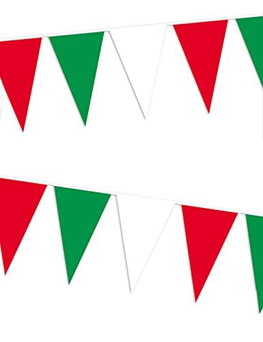 Amscan–8625–Ghirlanda bandierine–400x 26cm–Verde/Bianco/Rosso