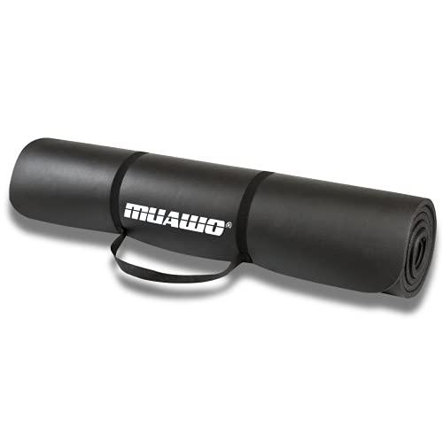 Muawo Premium Sportmatte und Fitnessmatte, Perfekt als Yogamatte, Gymnastikmatte, Trainingsmatte - rutschfest, Extra-dick, Extra-lang - Schadstofffrei - 190 Länge x100 Breite x1,35 cm dicke - Schwarz