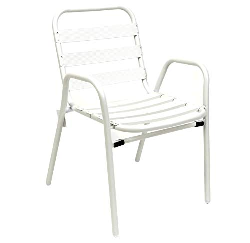 thesecrethome.es Silla Aluminio Blanca. Ideal para TU JARDÍN O TERRAZA. (60 x 54 x 78 cm)