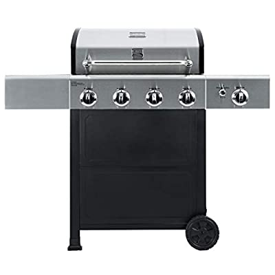Kenmore PG-A40406S0L 4 Outdoor Patio Gas BBQ Grill with Side Burner, Stainless Steel and Black