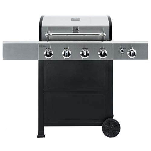 Kenmore PG-A40406S0L 4 Outdoor Patio Gas BBQ Grill with Side Burner, Stainless Steel and Black Burners Grill