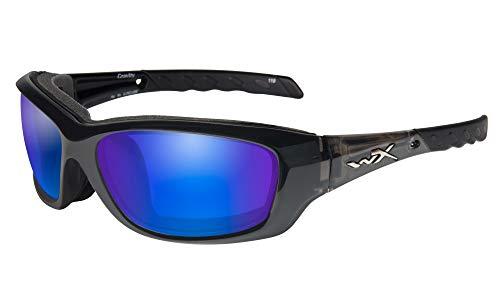 Wiley X WX Gravity Brille Polarisiert Blau Mirror Kontaktlinsen Schwarz Crystal Rahmen