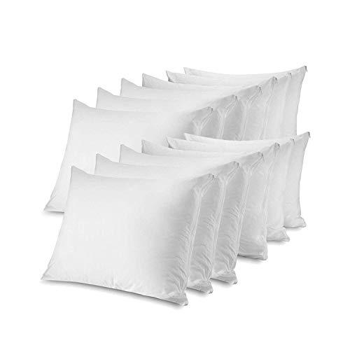 CIRCLESHOME Zippered Pillow Protectors 12 Pack Standard | 100% Cotton...