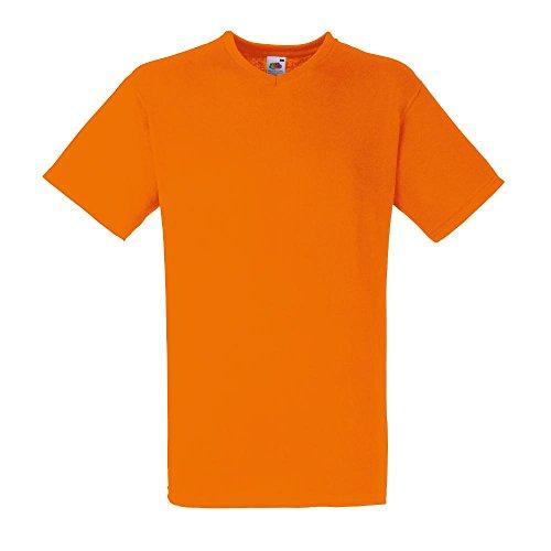 Fruit of the Loom–Maglietta da uomo Valueweight Maglietta con scollo a V, Uomo, Fruit of the Loom - V-Neck T-Shirt 'Value Weight', Orange, L