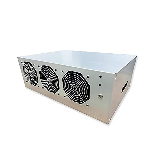 BsCom Mining Rig, 8 GPU Complete Miner Rig, Mining Machine System for Building a Bitcoin Mining Rig (White) (Color : Silver)
