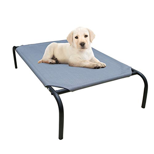 """PHYEX Heavy Duty Steel-Framed Portable Elevated Pet Bed, Elevated Cooling Pet Cot, 33"""" L x 19"""" W x 7.5"""" H(S, Grey)"""