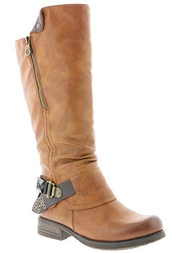 Rieker Damen Stiefel 93271, Frauen Stiefel, langschaftstiefel gefüttert reißverschluss Frauen weibliche Lady Ladies,Cayenne,40 EU / 6.5 UK