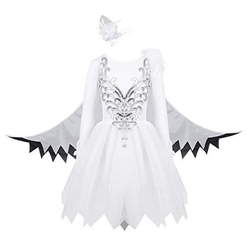 dPois Disfraz Bailarina de Cisne Princesa Niña Vestido de Ballet Danza Lentejuelas Mangas Largas Tutú Princesa Infantil Traje Bailarina Carnaval Actuación Blanco 7-8 Años