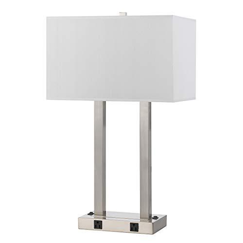 Benjara Lámpara de escritorio de 60 W x 2 con pantalla rectangular y tira de alimentación, color plateado y blanco