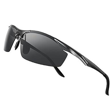 50b63035fe8 PAERDE Men s Polarized Sports Sunglasses for men Driving Cycling Fishing  Golf Running Metal Frame Sun Glasses (Black)PAERDE Men s Polarized Sports  ...