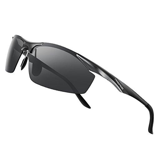 PAERDE Men's Polarized Sports Sunglasses for men Driving Fishing Golf Running Metal Frame Sun Glasses (Black)