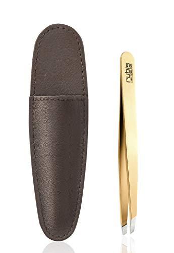 Rubis Pince à épiler oblique en acier inoxydable plaqué or - Avec étui marron