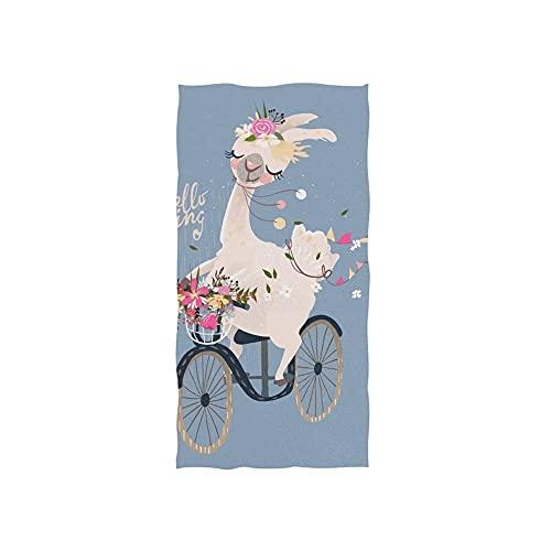 Romantic Llama Alpaca with Floral Wreath Toallas Baño Poliéster Toalla De Playa Customed Toallas De Baño Personalizada Toalla De Piscina