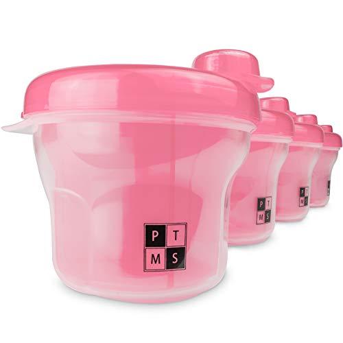 PTMS® [4 PEZZI] Dosatore Latte in Polvere - Pacchetto Vantaggioso - 4 Contenitori Pappa Neonati per portare Latte Polvere e altri Spuntini in Viaggio - 100% senza BPA - Rosa