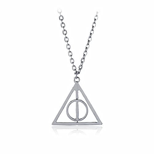 AOLIAY Deathly Hallows Necklace Rotating Time Turner Triangle Pendant Jewelry Movie Cosplay Gift for Girl Women Children, Silver