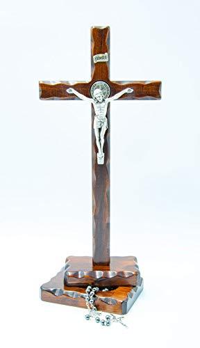 Crucifijo San Benito de mesa de madera – Incluye rosario – Plateado...