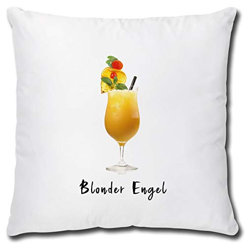 TRIOSK Cocktail kussen Blonder Engel sierkussen met motief geschenk voor vrouwen vriendin sofakussen sierkussen overtrek incl. vulling 40x40 cm