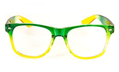 NICK and BEN Wayfarer Nerd-Brille Grün-Gelb Grün ohne Sehstärke 15cm Herren Damen Unisex Panto-Brille Lese-Brille