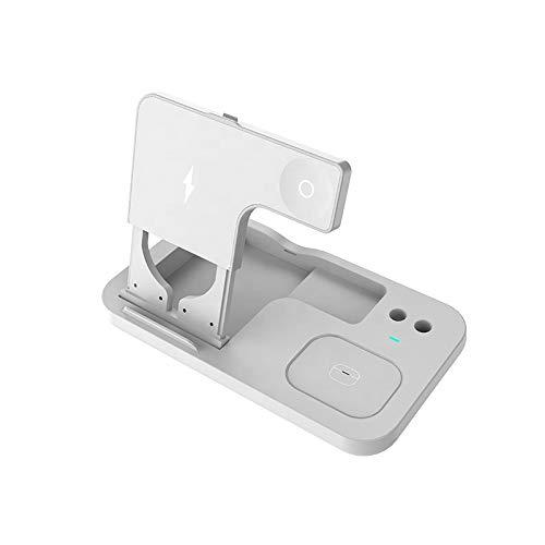 QXIAO Compatible con Estación de Carga Rápida 4 en 1,Apple Watch Airpods Pro iPhone 12/11 / 11pro / X/XS/XR/XS MAX / 8/8 Plus para Apple Watch AirPods Pencil Charging Dock Station,C