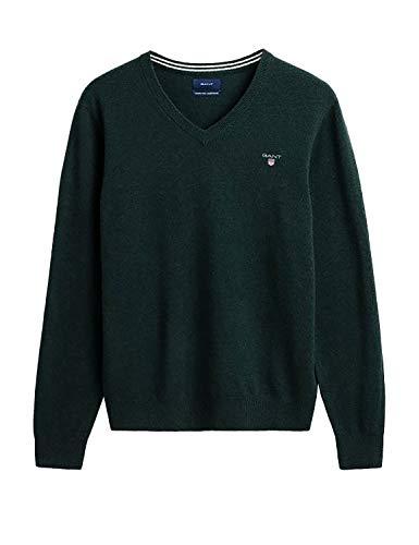GANT Superfine Lambswool V-Neck suéter, Verde (Tartan Green 374), Small para Hombre