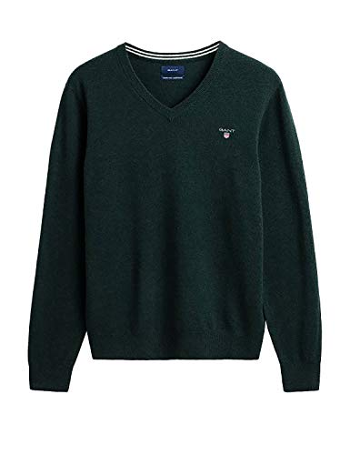 GANT Superfine Lambswool V-Neck suéter, Verde (Tartan Green 374), Medium para Hombre