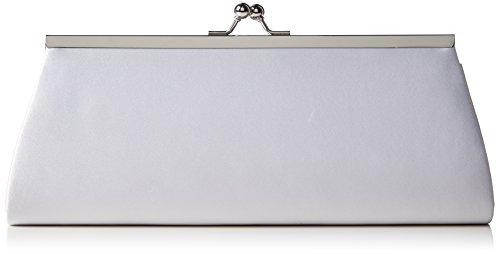 Berydale Damen Satin Handtasche, Clutch Schultertasche mit Zusatzkette und Metallbügel mit Schnappverschluss, Weiß