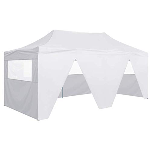 Küchenks Professional Folding Party Tent for Outdoor Events Sturdy Frame Light Weight Foldable Design with 4 Sidewalls 3x6 m Steel White