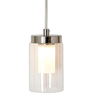 Polished Nickel Candle Light Hanging Pendant | Glass Surrounded LED Lighting Fixture | Vanity, Bedroom, Kitchen or Bathroom | Interior Lighting