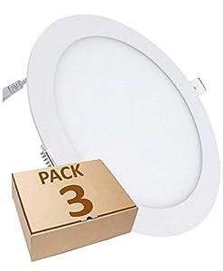Pack 3x Panel LED redondo plano, 18w. Color Blanco Frio (6500K). 1600 lumenes. Driver incluido. Corte standard 200mm.A++