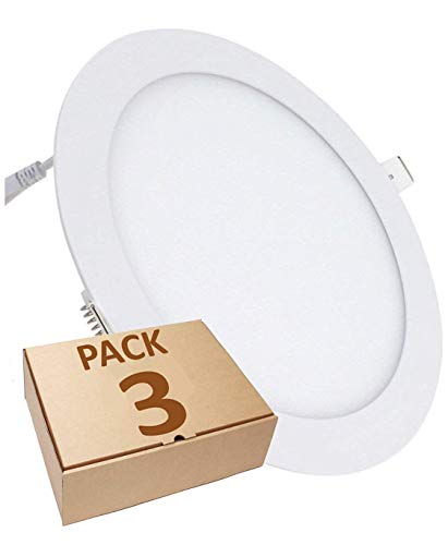 Pack 3x Panel LED redondo plano, 18w. Color Blanco Frio (6500K). 1600 lumenes. Driver incluido. Corte standard 200mm.A++