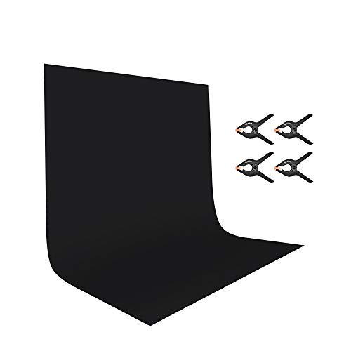 UTEBIT 6x9ft/1.8x2.8m Black Backdrop with 4 Pack Spring Clamps Seamless Polyester Photo Booth Photography Backgrounds Cloth Sheet Washable for Photoshoot,Video and Televison