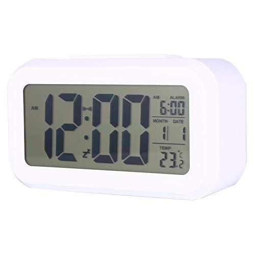 Changor Reloj despertador adecuado, sensor integrado que ilumina automáticamente el reloj LED perpetuo de plástico.