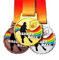 Watermzk Juego de medallas Personalizadas de 3 Piezas (premios de Oro, Plata, Bronce), para Baloncesto, Logotipo Personalizado Grabado, con Cinta para el Cuello